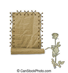 Grunge paper design in scrapbooking style on the white isolated background with roses
