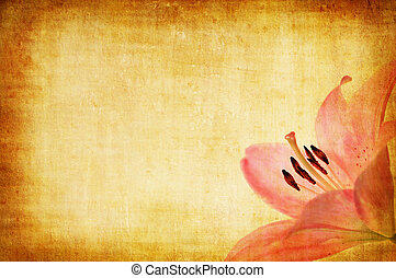 grunge paper floral background with pink lilly for multiple...