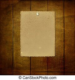 Grunge paper for invitation with thumbtacks on the vintage abstract background