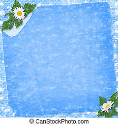 Grunge paper in scrapbooking style with bunch of daisy