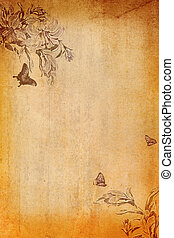 Grunge paper. - Grunge paper background with flowers.