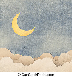 Grunge paper texture moon in the night