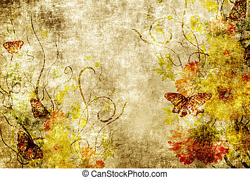 Grunge paper with floral patterns.