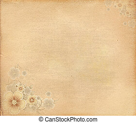 Grunge paper with flowers.