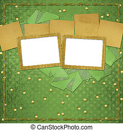 Grunge papers design in scrapbooking style with frame