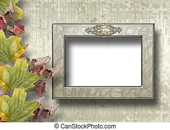 Grunge papers design in scrapbooking style with frame and foliage
