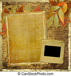 Grunge papers design in scrapbooking style with foliage and blank for text