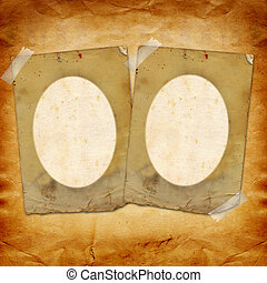Grunge papers design in scrapbooking style with paper frame for