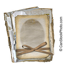 Grunge papers design in scrapbooking style on the isolated white background