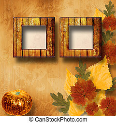 Grunge papers design in scrapbooking style with pumpkin
