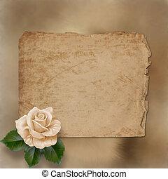 grunge, papier, alienated, schilderij, felicitatie, roos