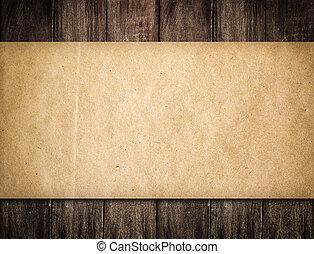 grunge, papier, auf, hölzern, hintergrund