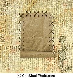 grunge, papier, design, in, scrapbooking, stil, auf, der, abstrakt, hintergrund, mit, rosen