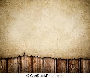 grunge, papier, op, houten muur, achtergrond