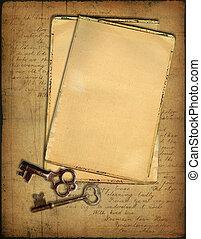 grunge, papiere, und, schlüssel