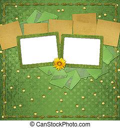 grunge, papieren, ontwerp, in, scrapbooking, stijl, met, frame, en, tuil