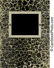 grunge, papieren, ontwerp, in, scrapbooking, stijl, met, frame