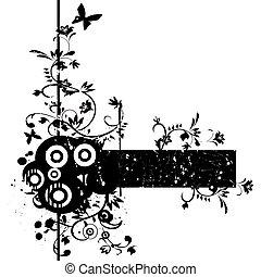 grunge, papillon, illustration, élément, vecteur, fond, stylique floral