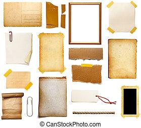 grunge, papper, stycke, anteckna