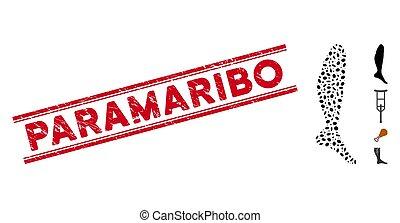Grunge Paramaribo Line Seal with Collage Leg Icon