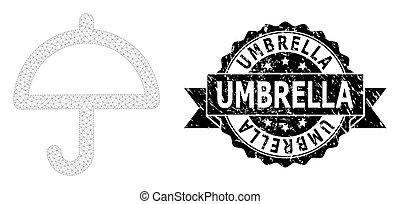 grunge, parapluie, maille, ruban, 2d, watermark