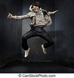 grunge, pared, encima, joven, bailarín, cadera-salto