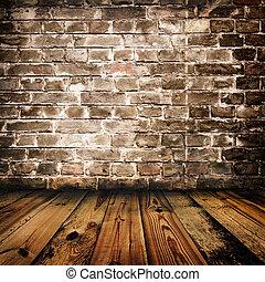 grunge, pared ladrillo, y, piso de madera