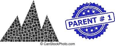 Grunge Parent # 1 Stamp Imitation and Square Dot Mountains ...