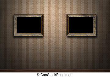 grunge, parete legno, retro, cornici, vecchio