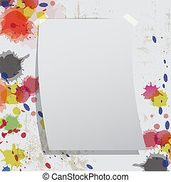 grunge, parete, splatter, inchiostro, carta, vuoto
