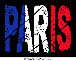 grunge Paris text with French flag