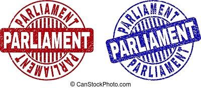 Grunge PARLIAMENT Scratched Round Stamp Seals
