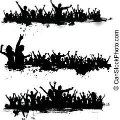 grunge, partido, multidões