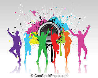Grunge party background - Colourful silhouettes of people...