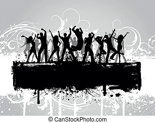 Grunge party background - People dancing on a decorative...