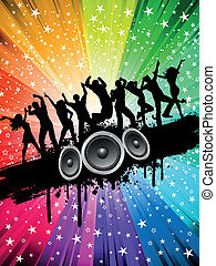 Grunge party background - Silhouettes of people dancing on a...