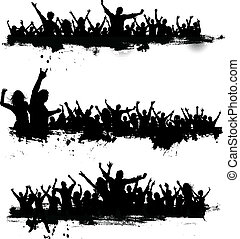 Grunge party crowds - Collection of three different party...