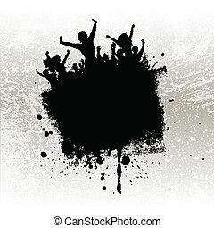 grunge, party, hintergrund