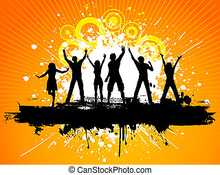 grunge party people - Silhouettes of people dancing on...