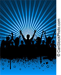 Grunge party - Silhouettes of an excited audience on grunge...