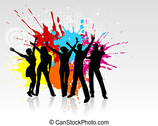 Grunge party - Silhouettes of people dancing on a grunge ...