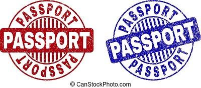 Grunge PASSPORT Textured Round Watermarks