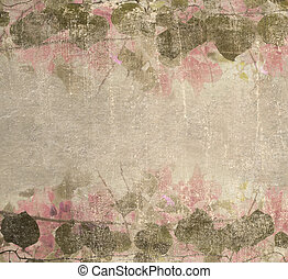 Grunge pastel pink bougainvillea foliage frame background -...
