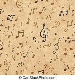 grunge, patrón, resumen, musical, papel, diseño, su