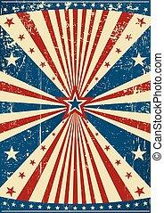 grunge, patriótico, cartaz