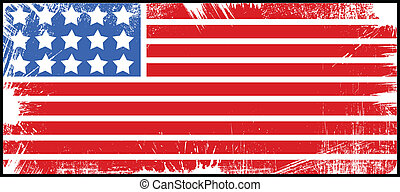 Drawing Art of Flag - US 4th of July - Independence Day Vector Design