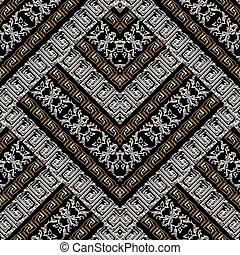 grunge, pattern., seamless, broderie, rayé, méandre, géométrique, 3d