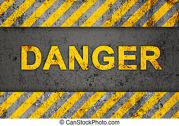 Grunge Pattern with Danger Text - Grunge Black and Orange...