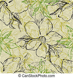 Grunge pattern with flowers