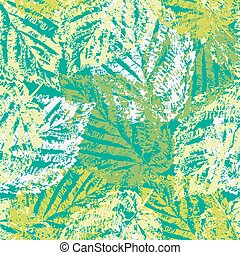 Grunge pattern with leaves on green background